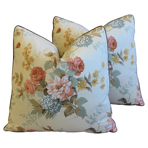 Sanderson English Rose Pillows, Pair