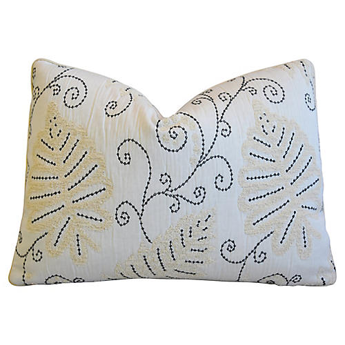 Scalamandré Embroidered Fern Wood Pillow