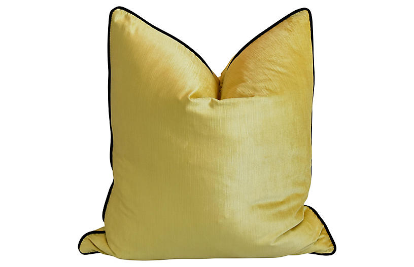 Sunshine Yellow & Black Velvet Pillow