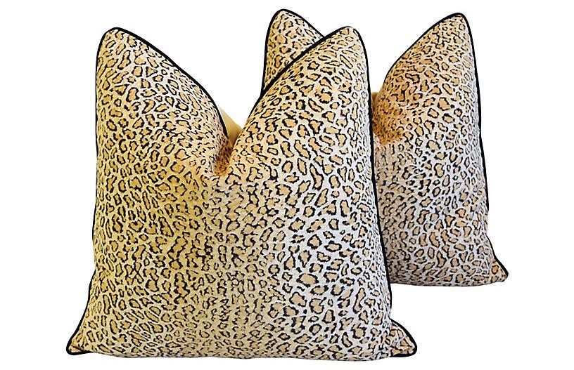 Cheetah Velvet Pillows, Pair
