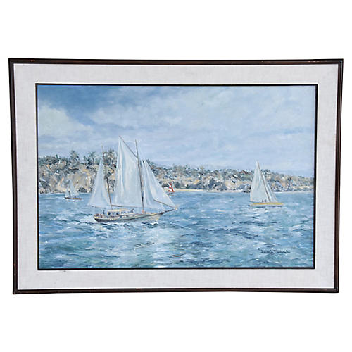 Beverly Fredericks Seascape w/ Sailboats