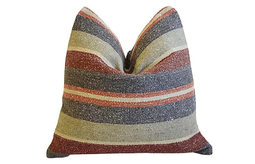 Boho-Chic Striped Turkish Carpet Pillow
