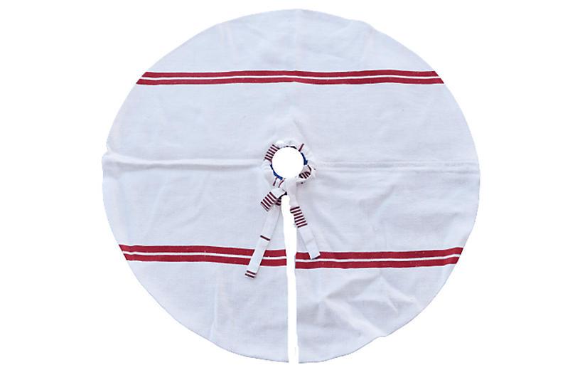 French Grain Sack Christmas Tree Skirt