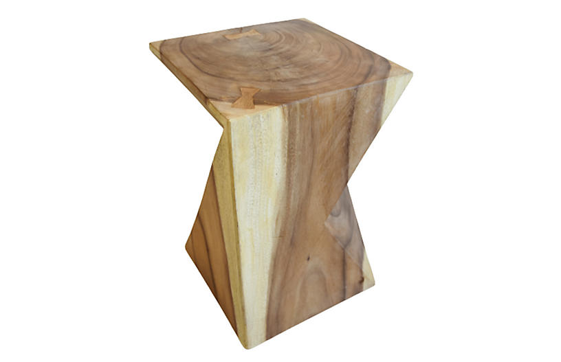 Natural Munger Wood Side Table Or Stool