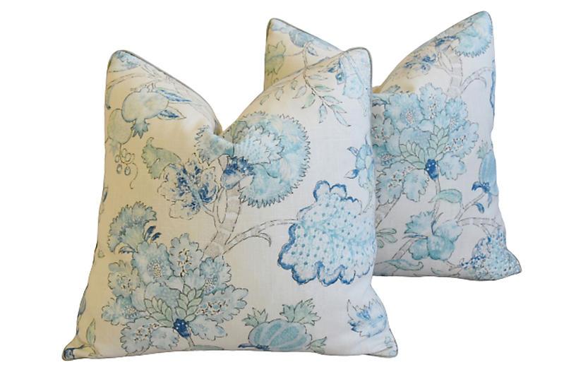 Aquamarine Blue Floral Linen Pillows, Pr