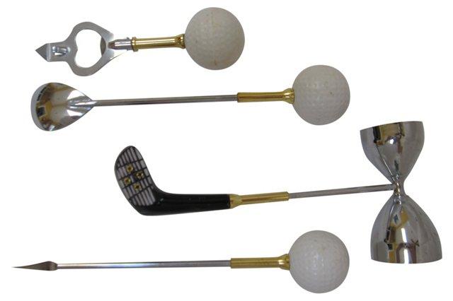 Golf-Theme Bar Tools, S/4