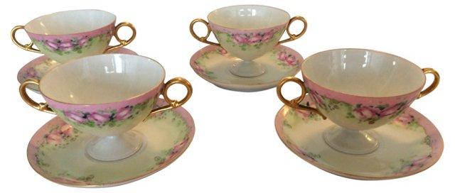 Limoges Bouillon Cups & Saucers, S/4