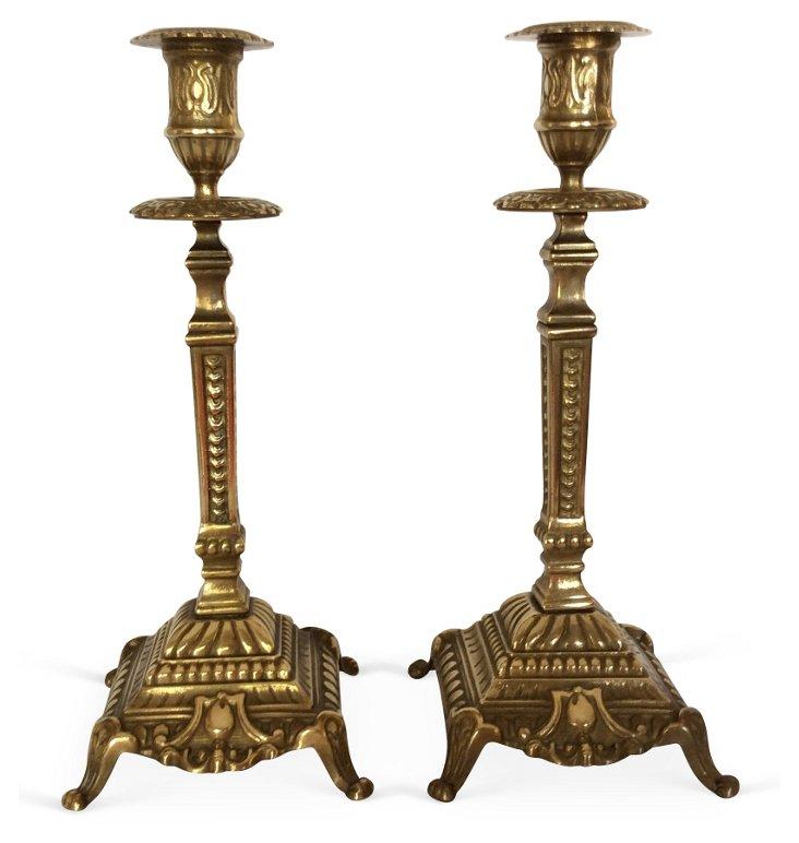 Ornate Brass Candlesticks, Pair