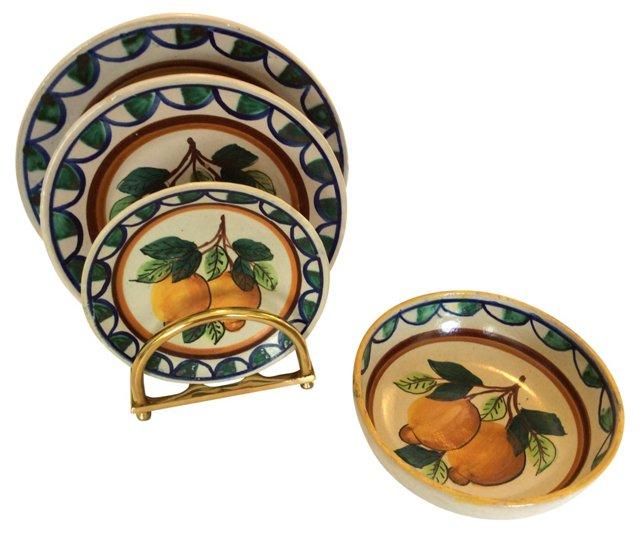 Italian Pottery Set, 4 Pcs