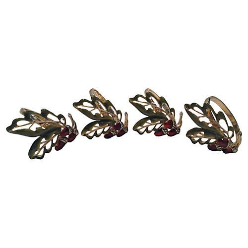 Enamel & Brass Acorn Napkin Rings, S/4
