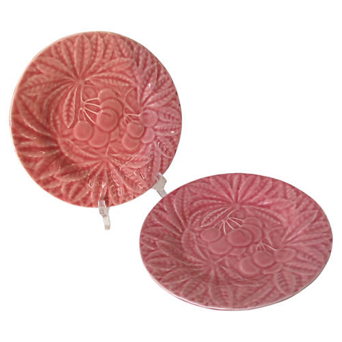 Majolica Cherry Plates, S/2