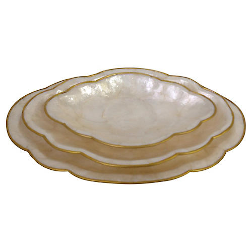 Brass-Framed Mother-Of-Pearl Trays, S/3