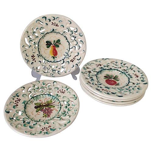 Italian Reticulated Fruit Plates, S/6