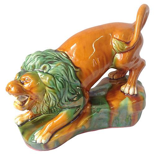 Majolica Lion Statue