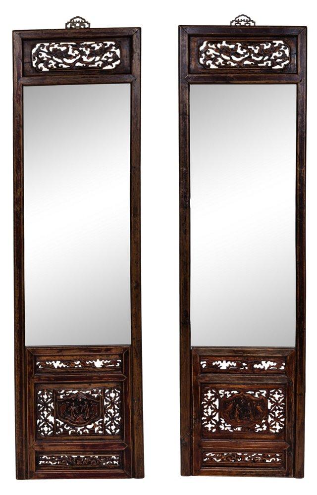 1930s Chinese Mirrors, Pair