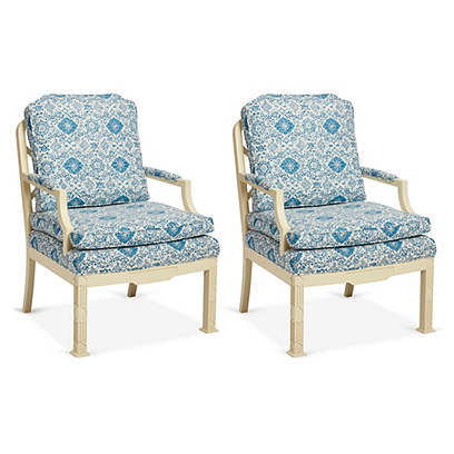 E. Lambeth Chippendale Style Chairs,S/2