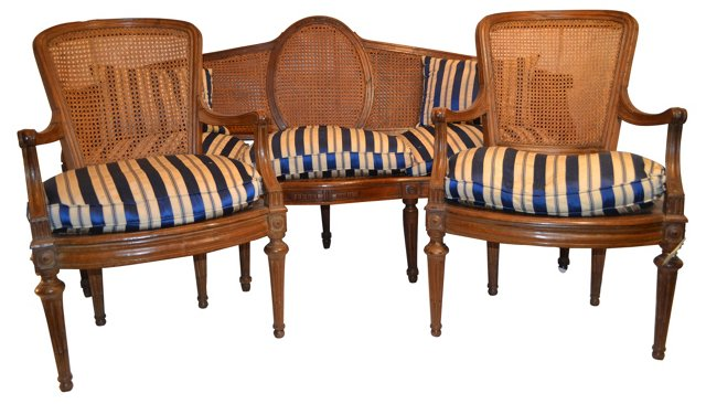 French Sofa & 2 Armchairs, 1897