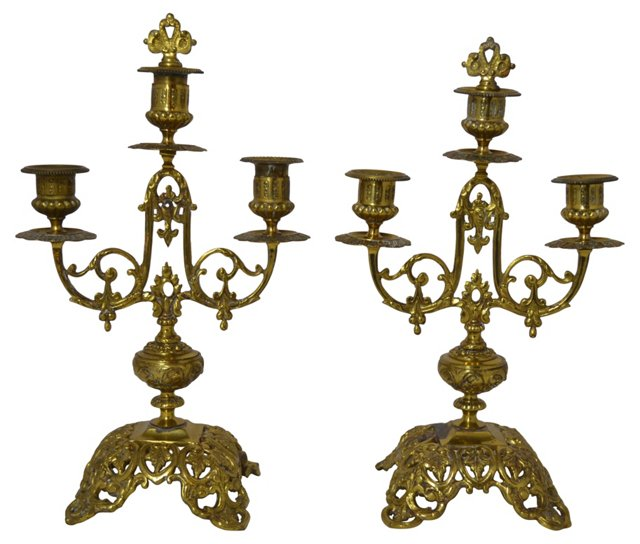 1920s French Candleholders, Pair