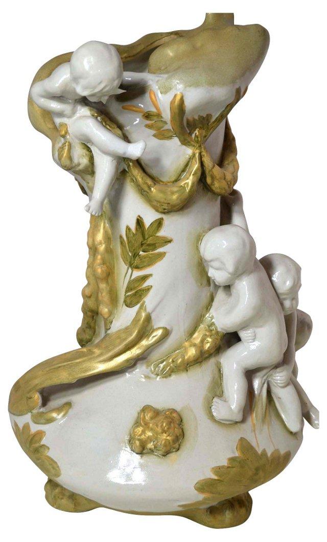 Ceramic Vase w/ Cherubs