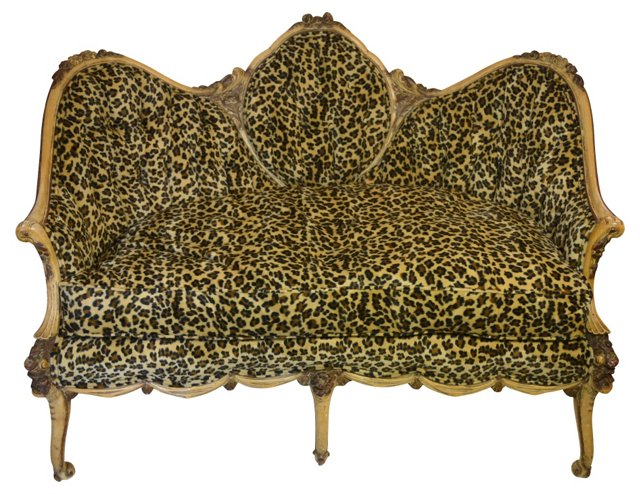 French Leopard-Print   Loveseat