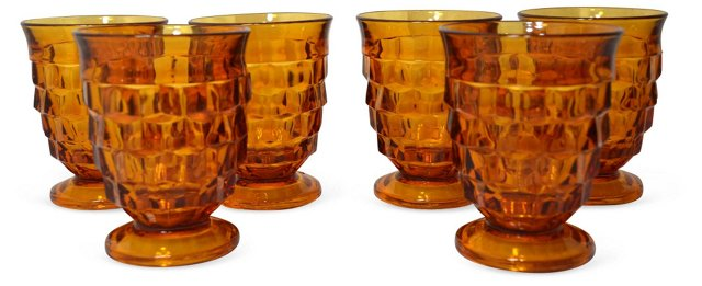 Amber Glasses, Set of 6