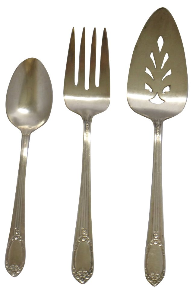 Silverplate Serving Set, 3 Pcs