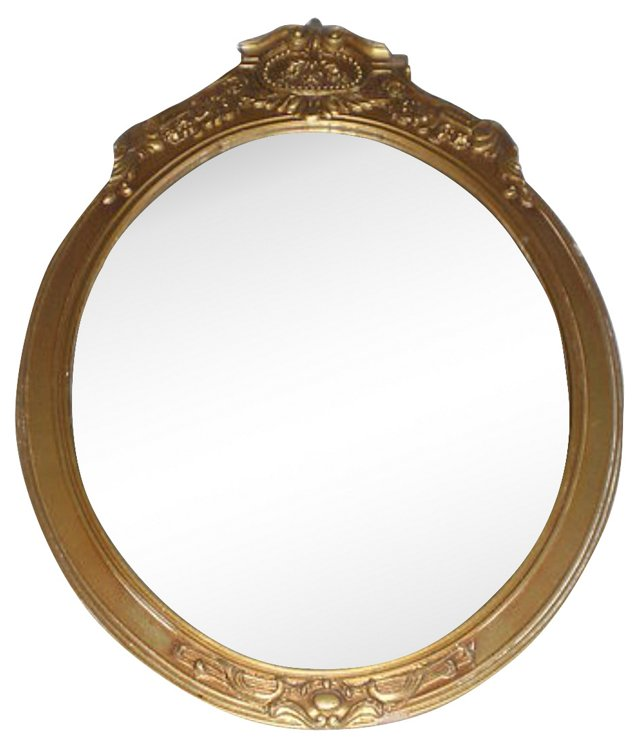 Art Deco-Style Oval Giltwood Mirror
