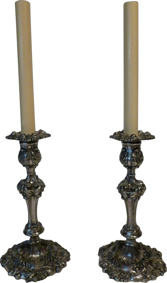 19th-C Silverplate Lamps, Pair