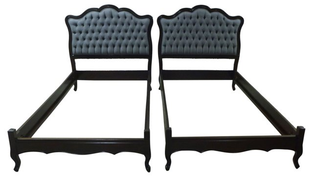 1940s Tufted Twin Bed Frames, Pair