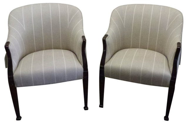 1940s Barrel Chairs, Pair