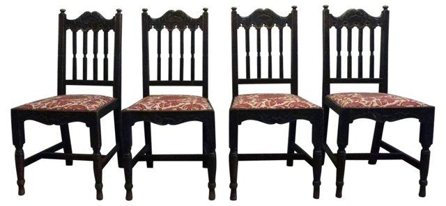 Antique  Oak Chairs, S/4
