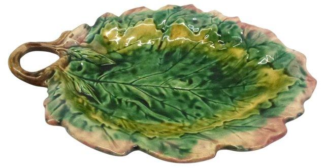 Italian Majolica Leaf Dish