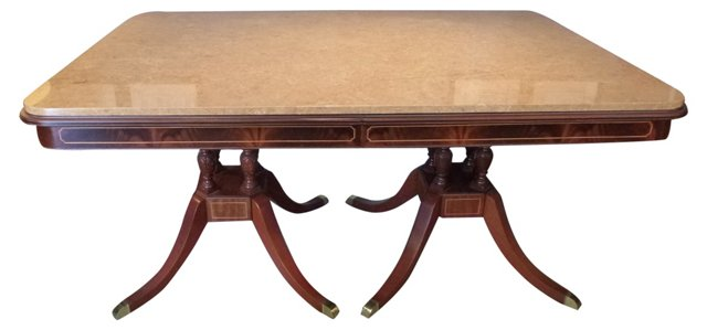 Antique Mahogany & Marble Table