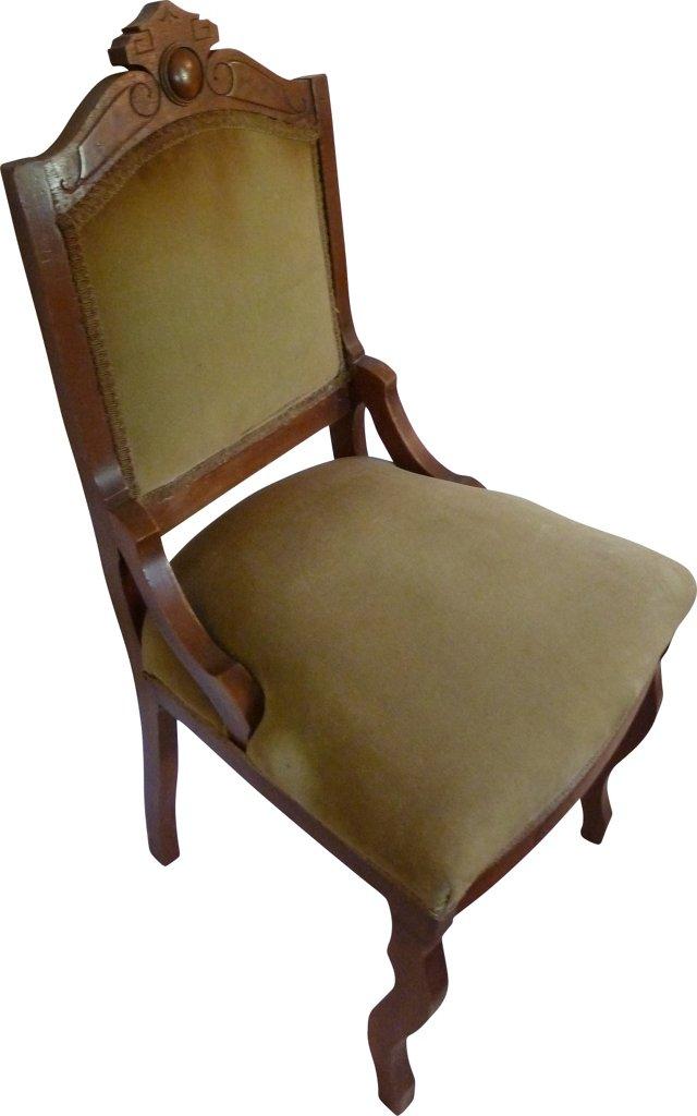 Antique Green Velvet Chair