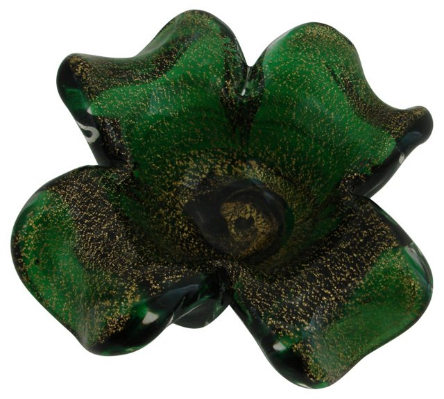 Murano Green Glass & Gold Bowl