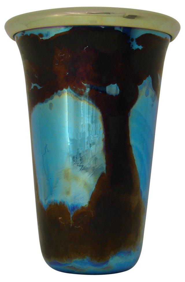 Iridescent Blue Art Glass Vase