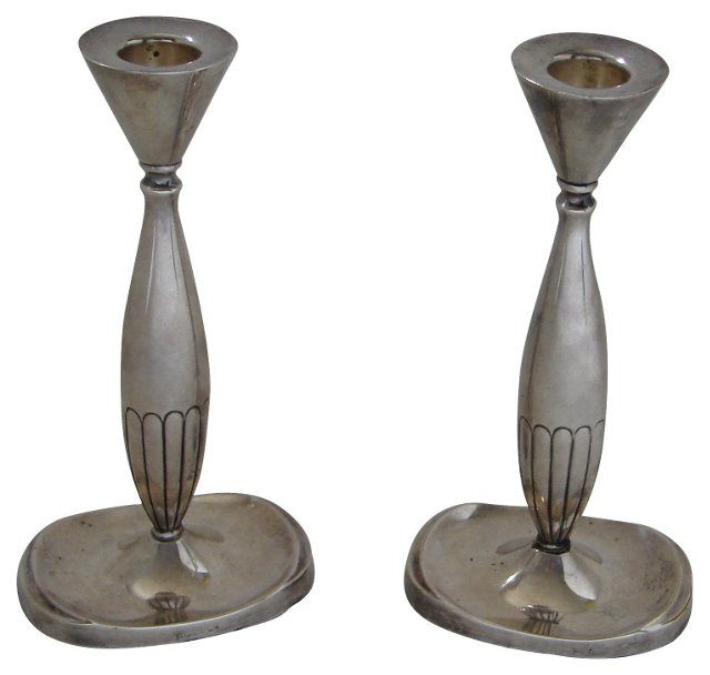Danish Moderne Silver Candlesticks, Pair