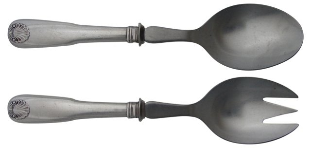 Fiddle & Shell Silver Salad Servers