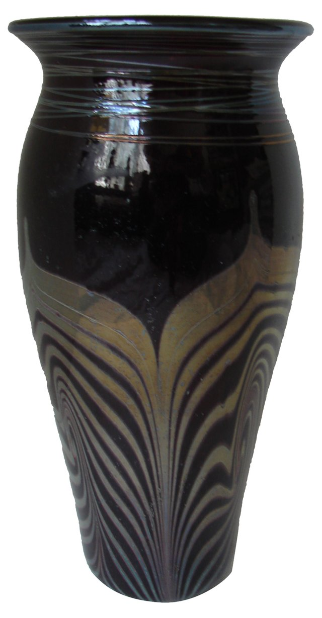 Pulled Feather Art Glass Black Vase