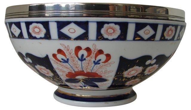 Silver-Rimmed Imari Bowl