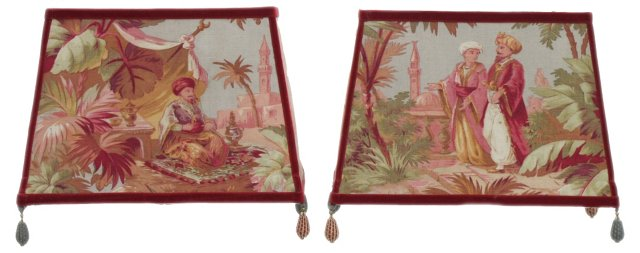 19th-C. Fabric Handmade Shades, Pair