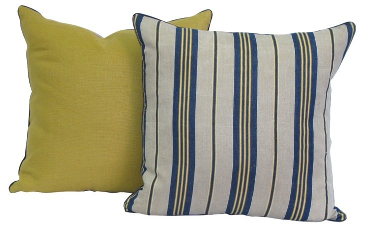 Pillows w/ 19th-C. French Ticking, Pair
