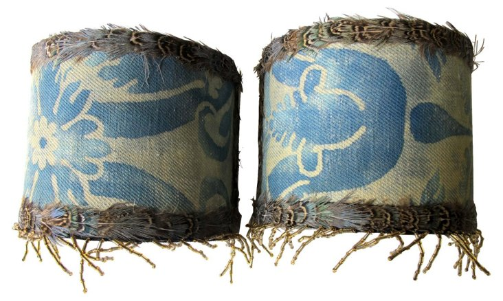 Blue Fortuny     Sconce Shades, Pair