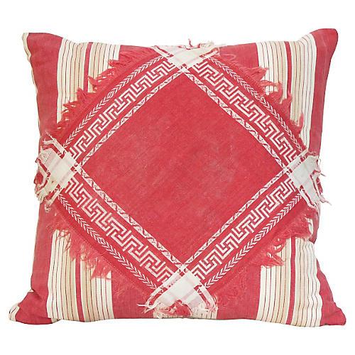 Antique Ticking & Damask Pillow