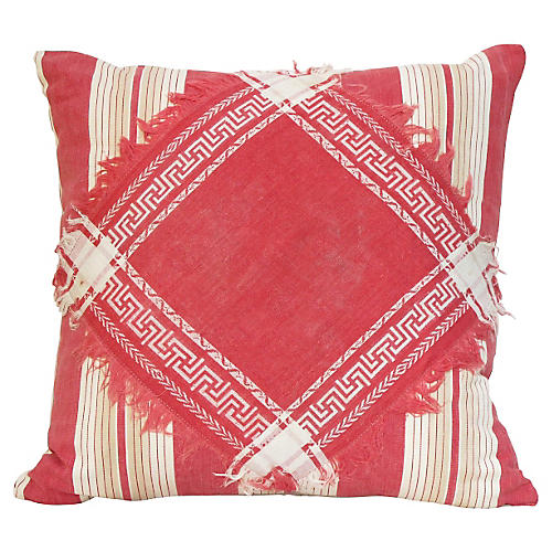 Antique Ticking & Damask Pillow