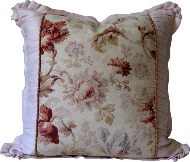 19th-C. Floral Textile Pillow