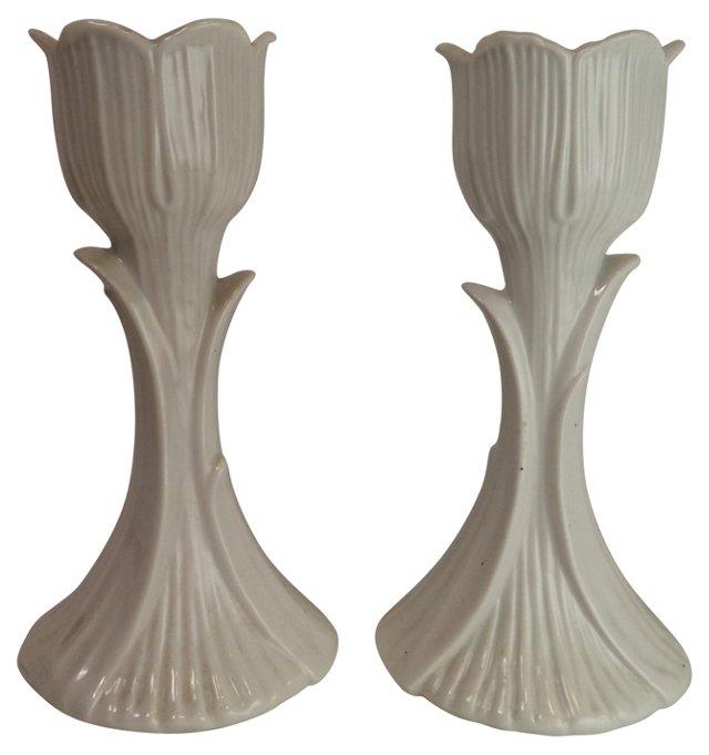 White Tulip Candlesticks, Pair