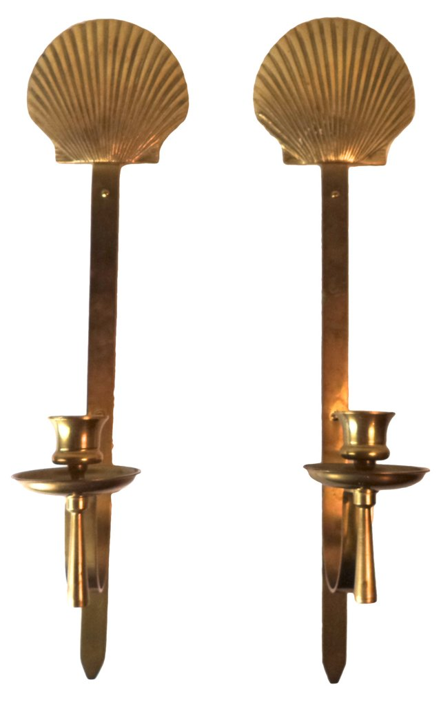 Brass Shell Candle Sconces, Pair