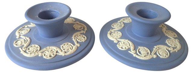 Blue Wedgwood Candlesticks, Pair