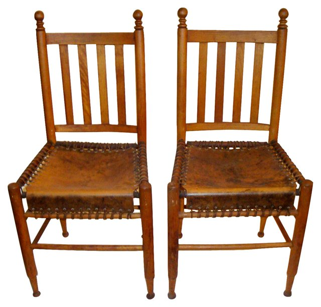 Laced-Leather Chairs, Pair